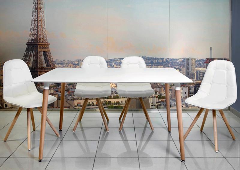 Conjunto n rdico moon blanco mesa sal n y 4 sillas en for Sillas salon vintage