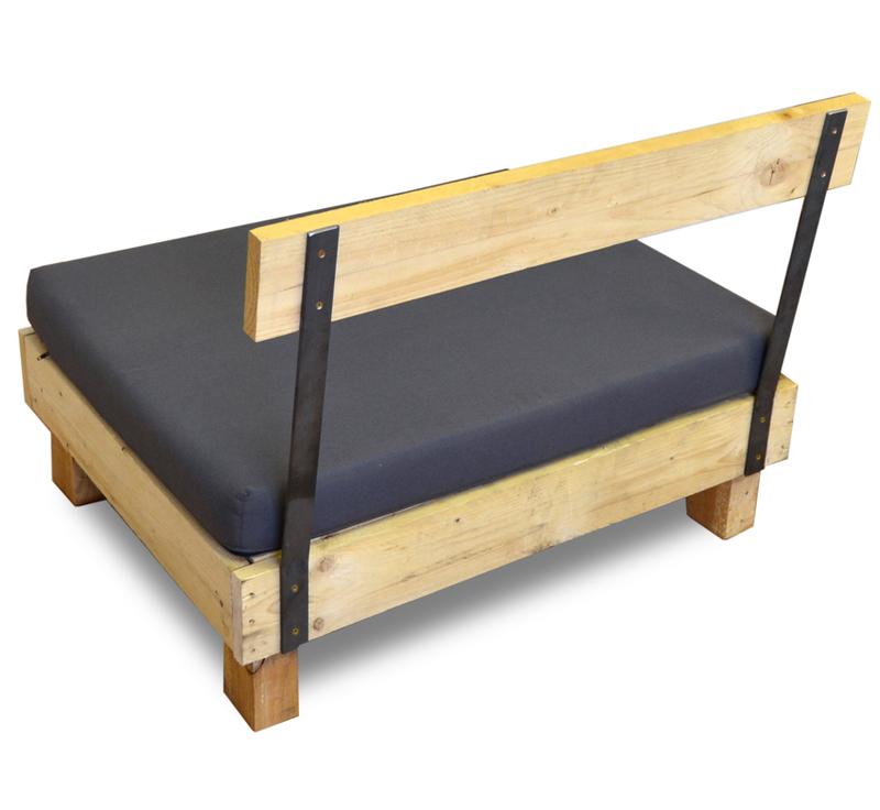 Respaldo para sof de madera con hierro 100 cm for Sofa exterior hierro