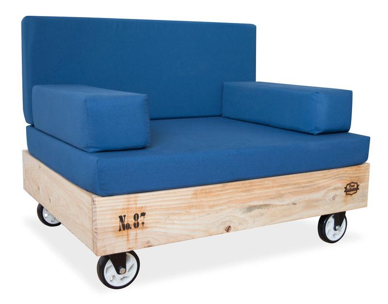 Sof palet de madera de pino natural con ruedas giratorias - Sofas de madera de pino ...