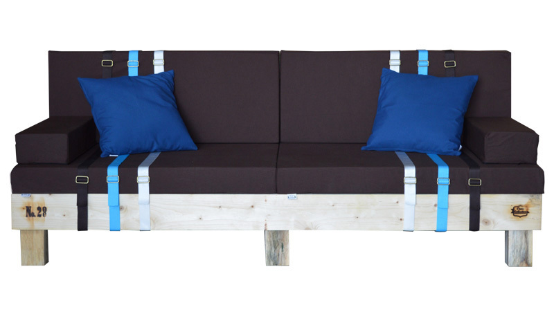 Sofa palet nature en pino reciclado 80 x 200 x 38 cm for Sofa exterior reciclado